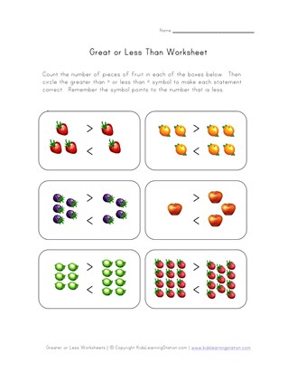 Greater Than, Less Than - Picture Comparison | All Kids Network