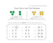 less and greater worksheet