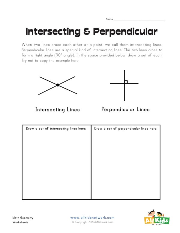 Intersecting And Perpendicular Lines Worksheet All Kids Network