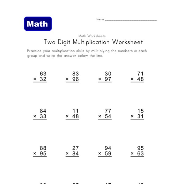 Worksheet Double Digit Multiplication Worksheets two digit multiplication worksheets all kids network