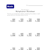 3 digits times 3 digits multiplication worksheet