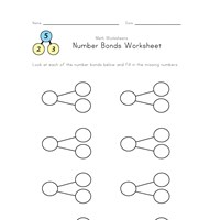 blank number bonds worksheet