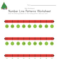 Christmas Number Line Worksheet with Decimals