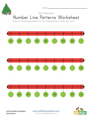 Christmas Number Line Worksheet