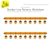 Fall Number Line Worksheet