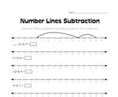 Number Lines Subtraction Worksheet 1