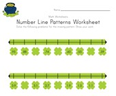 St. Patrick's Day Number Line Worksheet with Decimals