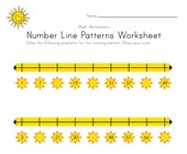 Summer Number Line Worksheet