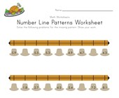 Thanksgiving Number Line Worksheet with Decimals