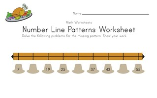 Thanksgiving Number Line Worksheet