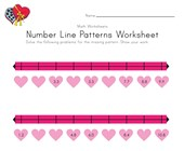 Valentine's Day Number Line Worksheet with Decimals