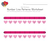 Valentine's Day Number Line Worksheet