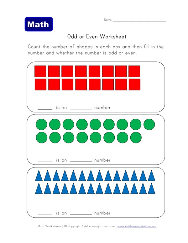 Count Odd And Even Numbers Of Shapes All Kids Network