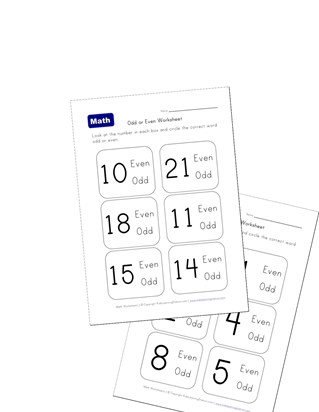 even and odd number recognition worksheets