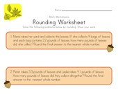 Fall Rounding Worksheet