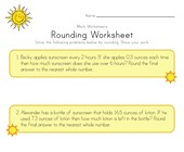 Summer Rounding Worksheet