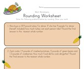 Thanksgiving Rounding Worksheet
