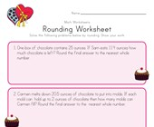 Valentine's Day Rounding Worksheet