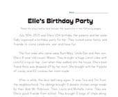 Birthday Party Story Problems Worksheet