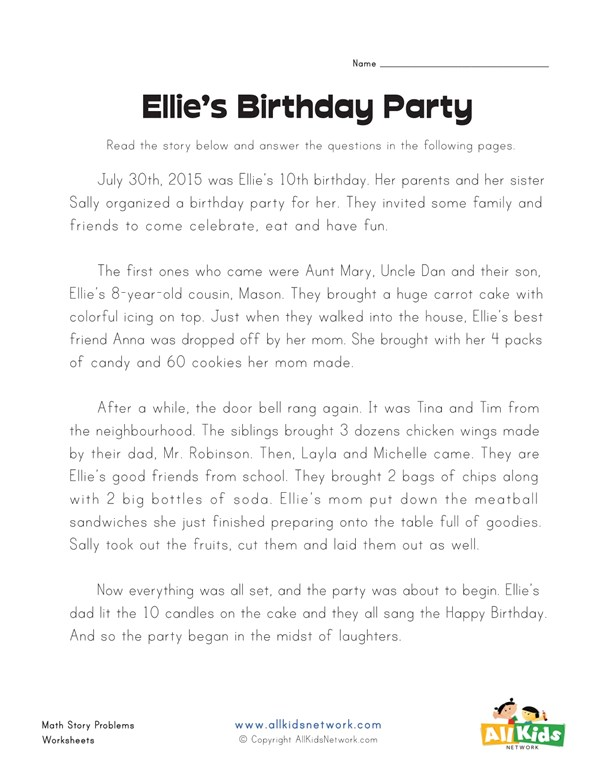 birthday party story problems worksheet all kids network
