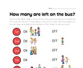 Bus Driver Story Problems Worksheet