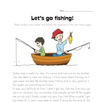 Fishing Trip Story Problems Worksheet
