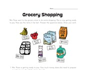 Grocery Shopping Story Problems Worksheet