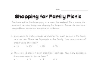 Shopping for Picnic Story Problems Worksheet