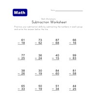 subtraction worksheet one