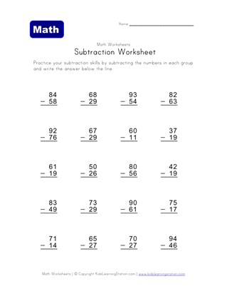 Subtraction Worksheets With Borrowing All Kids Network