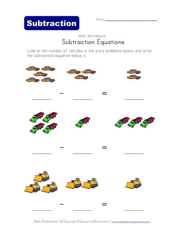 Subtraction Equations Worksheet - Vehicles Theme | All Kids Network