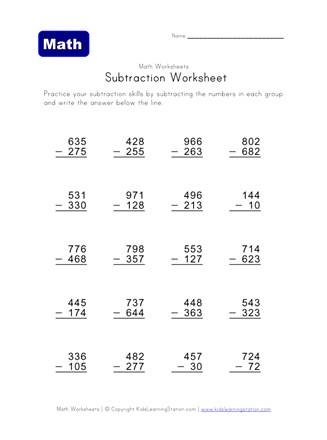 subtraction worksheet two