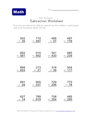math help  subtraction worksheets  all kids network