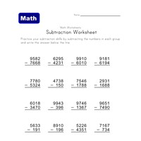mixed subtraction worksheet five
