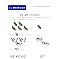 animals subtraction problems worksheet