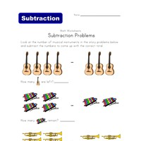 music subtraction problems worksheet