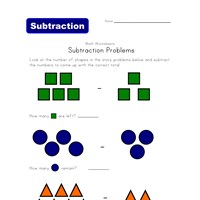 shapes subtraction problems worksheet