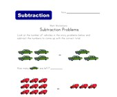vehicles subtraction problems worksheet