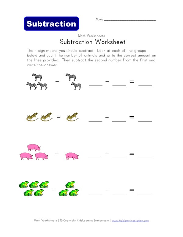 Subtraction Worksheet - Animals Theme | All Kids Network