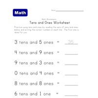 counting tens ones place value worksheet