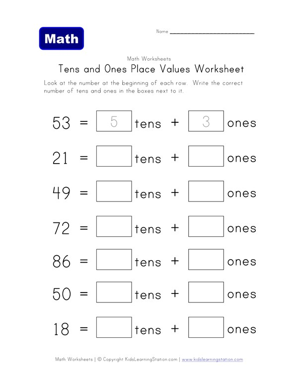 Tens and Ones Place Value Worksheet - One of Two | All Kids Network