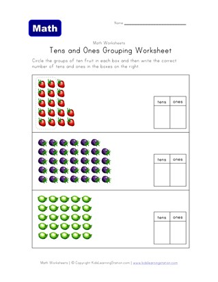 tens ones grouping fruit worksheet