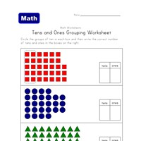 tens ones grouping shapes worksheet