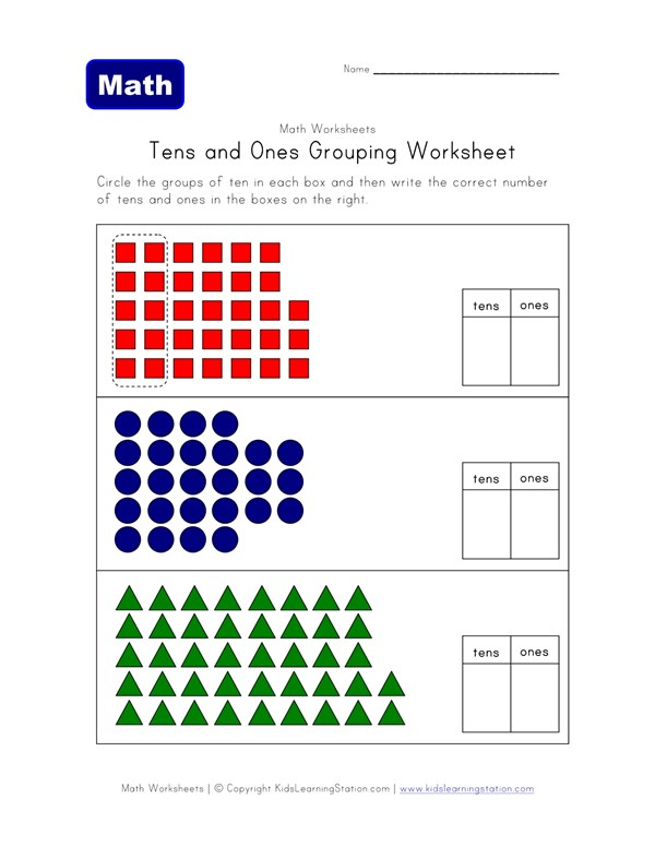 Tens and Ones Grouping Worksheet - Two of Two | All Kids Network