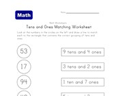 tens ones matching worksheet