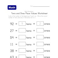 tens ones place value worksheet