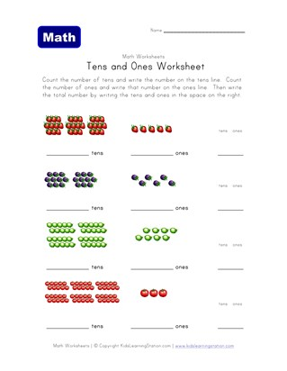 tens ones worksheet fruit