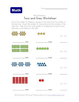 tens ones worksheet shapes