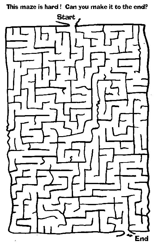 Hard Maze Coloring Pages