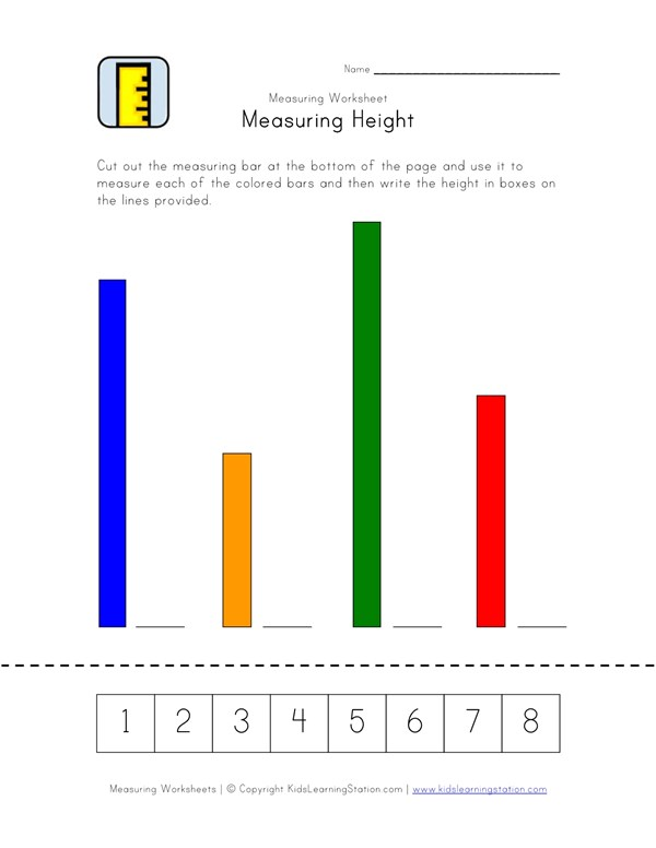 Measuring Height Worksheet One Of Two All Kids Network
